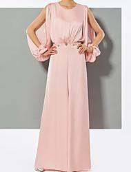 cheap -Jumpsuits Empire Elegant Wedding Guest Formal Evening Dress Jewel Neck Long Sleeve Floor Length Charmeuse with Sleek 2021