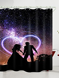 cheap -valentine's day galaxy couple love heart digital printing shower curtain shower curtains  hooks modern polyester new design
