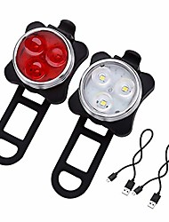 cheap -bike light usb rechargeable bike light powerful waterproof front and bike taillight with 4 lighting options with 650mah lithium battery 2 usb cables and 4 straps (white red)