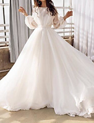 cheap -A-Line Wedding Dresses Jewel Neck Court Train Chiffon Long Sleeve Simple Beach Backless with Pleats 2021