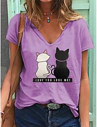 cheap -Women's Plus Size Tops T shirt Print Animal Large Size V Neck Short Sleeve Big Size