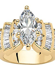 cheap -14k yellow gold plated marquise cut cubic zirconia step top engagement ring size 5