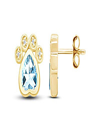 cheap -pet love heart cut simulated cz paw print stud earrings in 14k yellow gold over sterling silver