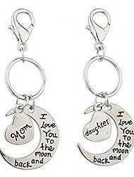 cheap -mom and daughter keychain i love you to the moon back keychain silvertone accessories