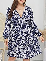 cheap -Women's Plus Size Print Bow Print Vintage Long Sleeve Spring & Summer Knee Length Dress A Line Dress