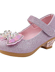cheap -Girls' Heels Princess Shoes PU Little Kids(4-7ys) Big Kids(7years +) Party & Evening Walking Shoes Crystal Bowknot Pink Gold Silver Fall Spring