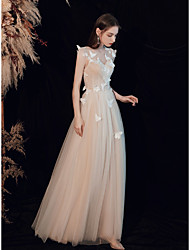 cheap -A-Line Elegant Boho Engagement Formal Evening Valentine's Day Dress Illusion Neck Sleeveless Floor Length Tulle with Pleats Ruched 2021