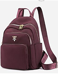 cheap -Women's Unisex Nylon Special Material School Bag Rucksack Commuter Backpack Large Capacity Waterproof Zipper Solid Color Sports & Outdoor Daily Backpack Wine Black Blue Purple Red
