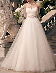 cheap -A-Line Wedding Dresses Strapless Floor Length Lace Tulle Sleeveless Romantic Simple with Crystal Brooch 2021