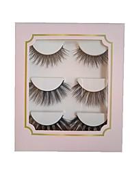 cheap -3d natural false synthetic eyelashes curly thick wispy cross lashes fluffy false eyelash makeup tools 3pair/set