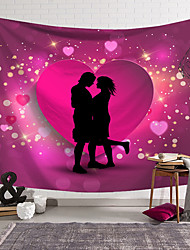 cheap -Valentine's Day Wall Tapestry Art Decor Blanket Curtain Hanging Home Bedroom Living Room Decoration Heart Lover