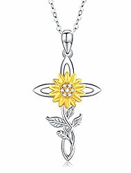 cheap -sunflower necklace for women silver jewelry 14gold plated flower celtic pendant