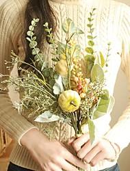 cheap -artificial flowers plants bouquet home decorative leaves plants display wedding bridal flowers bouquet