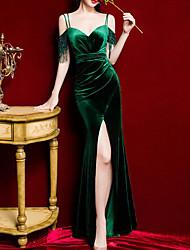 cheap -Mermaid / Trumpet Elegant Vintage Prom Formal Evening Dress Spaghetti Strap Short Sleeve Floor Length Velvet with Tassel Split 2021