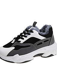 cheap -Women's Trainers Athletic Shoes Wedge Heel Round Toe Sporty Dad Shoes Athletic Outdoor Running Shoes Walking Shoes PU Lace-up Color Block White Black