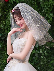 cheap -Two-tier Artistic Style / Vintage Style Wedding Veil Shoulder Veils with Starfish and Seashell 19.69 in (50cm) Tulle