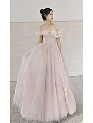 cheap -A-Line Empire Elegant Prom Formal Evening Dress Sweetheart Neckline Short Sleeve Sweep / Brush Train Tulle with Pleats Beading 2021