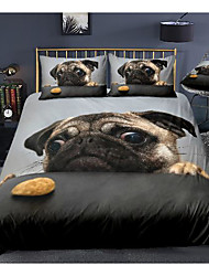 cheap -cute dog print 3-piece duvet cover set hotel bedding sets comforter cover with soft lightweight microfiber, include 1 duvet cover, 2 pillowcases for double/queen/king(1 pillowcase for twin/single)