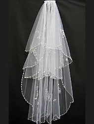 cheap -Two-tier Classic Style / Pearl Wedding Veil Elbow Veils with Faux Pearl / Paillette 59.06 in (150cm) POLY / 100% Polyester