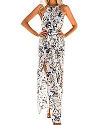 cheap -womens summer dress,women's floral print vintage boho long maxi dress casual long dress beach loose dress holiday beach sundress swing beachwear white