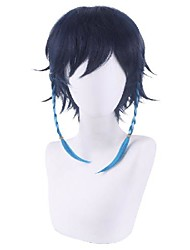 cheap -Cosplay Wig Straight Braid With Bangs Wig Short Blue Synthetic Hair 14 inch Men's Anime Cosplay Cool Blue