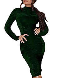 cheap -fashion women solid turtleneck bodycon ruched evening gown tight buttocks dress green l