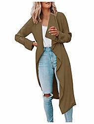 cheap -womens lapel open front wrap coat,turn-down neck casual long sleeve winter fall warm wool blend overcoat outwear