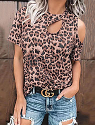 cheap -Women's Plus Size Tops Blouse Leopard Print Short Sleeve Round Neck Big Size / Loose