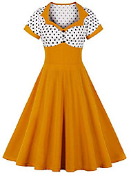 cheap -women's 50s retro rockabilly evening dresses cocktail party dress ball gown large sizes (yellow, m)