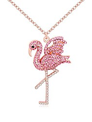 cheap -delicate rhinestone pink flamingo bird pendant necklace gifts for women (rose gold)