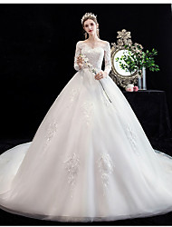 cheap -Princess Ball Gown Wedding Dresses Jewel Neck Court Train Lace Tulle Long Sleeve Formal Romantic Luxurious with Appliques 2021