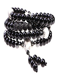 cheap -prayer beads with black onyx and lava rock for aromatherapy - japa mala beads necklace for grounding - beaded bracelet - includes bonus remote reiki session