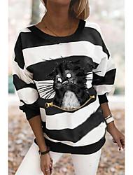cheap -Women's Plus Size Tops T shirt Print Animal Large Size Round Neck Long Sleeve Big Size