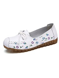 cheap -Women's Boat Shoes Flat Heel Round Toe Casual Daily Walking Shoes Leather Lace-up Floral Wine White Black