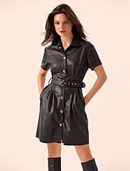 cheap -Women's Sheath Dress Short Mini Dress - Short Sleeve Solid Color Button Summer Sexy 2020 Black Khaki Green S M L XL XXL