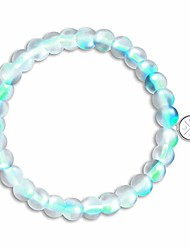 cheap -shimmer beads glowing glass mermaid moonstone stretch bracelet for women light mystic aqua blue rainbow, 8mm beads
