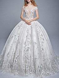cheap -Princess Ball Gown Wedding Dresses Off Shoulder Floor Length Lace Tulle Short Sleeve Formal Romantic See-Through with Pleats Appliques 2021