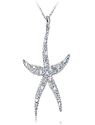 cheap -silvery tone crystal rhinestone ocean starfish beach pendant necklace