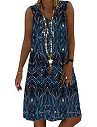 cheap -ladies summer dress v-neck beach dresses a-line dress boho knee-length dresses sleeveless flowers casual dress d blue l