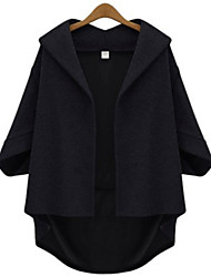 cheap -Women's Plus Size Patchwork Solid Colored Going out Work Regular Teddy Coat / Shirt Collar / Loose / Batwing Sleeve