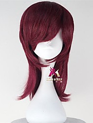 cheap -Synthetic Wig Cosplay Wig Straight With Bangs Wig Medium Length Burgundy Synthetic Hair 18 inch Women's Fashionable Design Cosplay Soft Burgundy