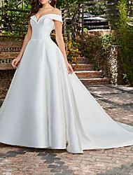 cheap -A-Line Wedding Dresses Off Shoulder Chapel Train Satin Short Sleeve Country Formal Simple with 2021