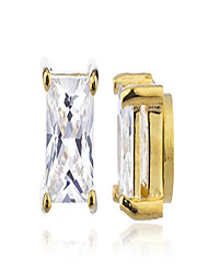 cheap -goldtone with clear cz square magnetic stud earrings - 4mm to 12mm available (6mm) (e-1547)