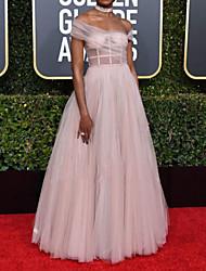 cheap -Sheath / Column Celebrity Style Elegant Engagement Formal Evening Dress Off Shoulder Sleeveless Floor Length Tulle with Pleats 2021