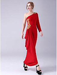 cheap -Sheath / Column Empire Sexy Wedding Guest Formal Evening Dress One Shoulder Long Sleeve Floor Length Spandex with Pleats Beading Appliques 2021