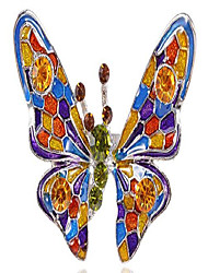 cheap -womens silvery tone sparkle colorful crystal rhinestone enamel butterfly bug adjustable ring