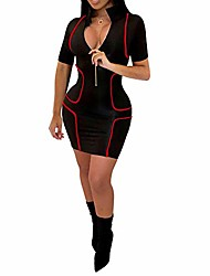 cheap -work dress - sexy club lady stripe zip front turn down collar short sleeve bodycon mini dress black xxl