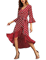 cheap -women dresses casual v neck party 3/4 sleeve vintage dress polka dot(rd,xl) red