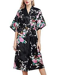 cheap -ladies dressing gown kimono, smooth satin sleepwear bathrobe robe with peacock and flower kimono negligee silk robe loose pajamas, long style (xxx-large, black)