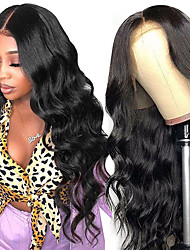 cheap -Remy Human Hair Lace Front Wig Free Part style Brazilian Hair Body Wave Natural Wig 150% Density with Baby Hair For Black Women 100% Virgin Women's Medium Length Human Hair Lace Wig